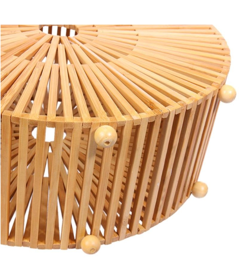 Round bamboo bag with handle