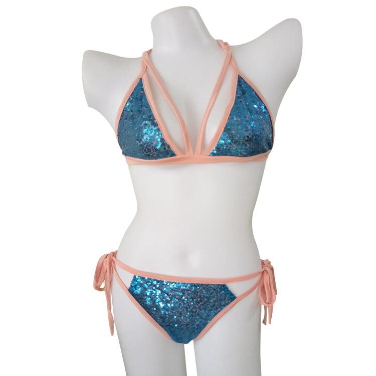Blue sequin bikini set