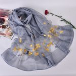 Silk scarf with embroidery - Light grey/blue