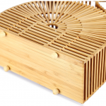 Half-moon bamboo bag with handle