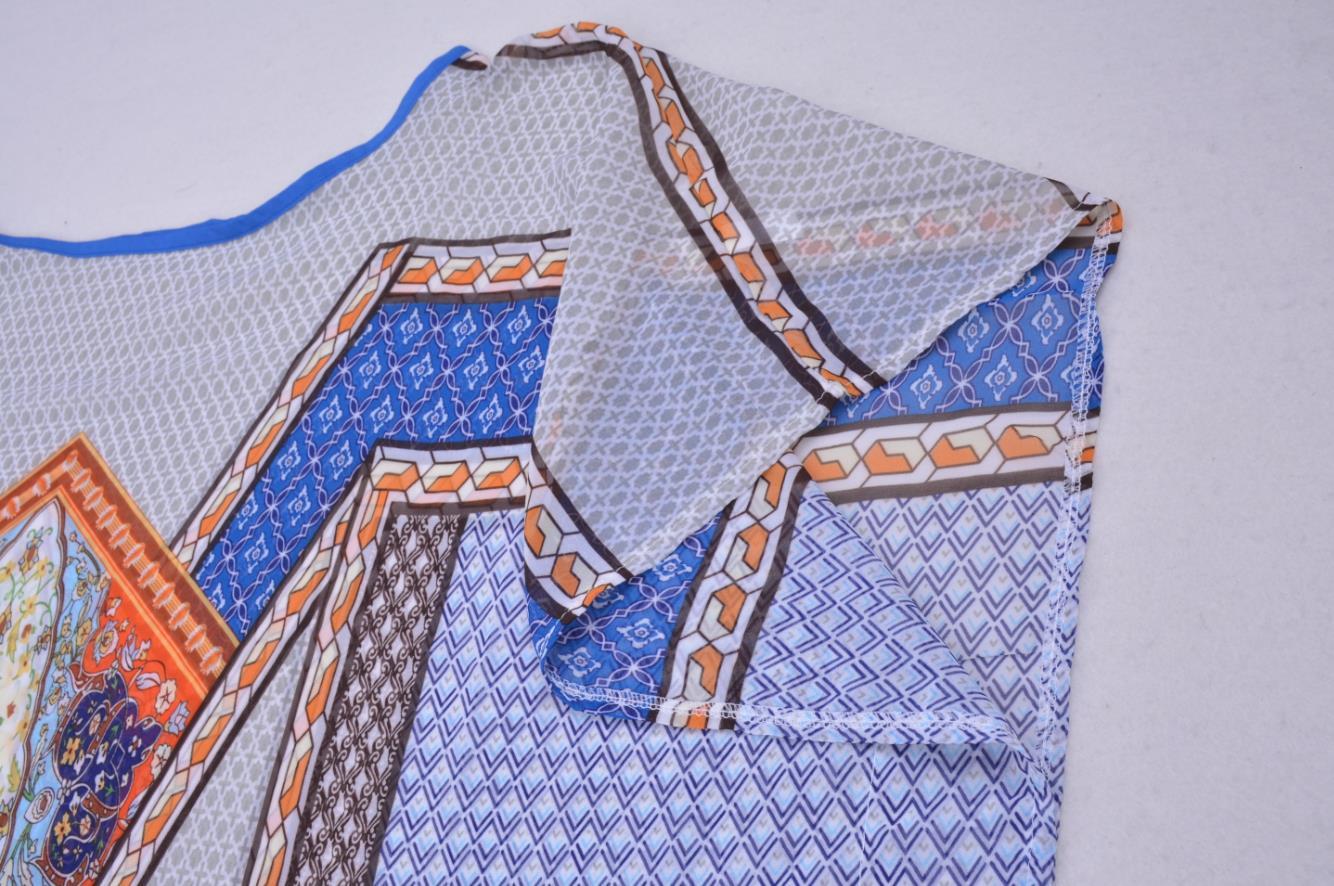 Floral print chiffon kaftan with tie-belt