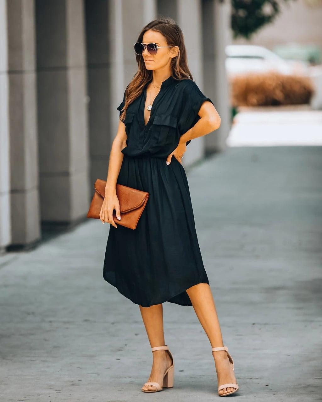 Summer black satin dress