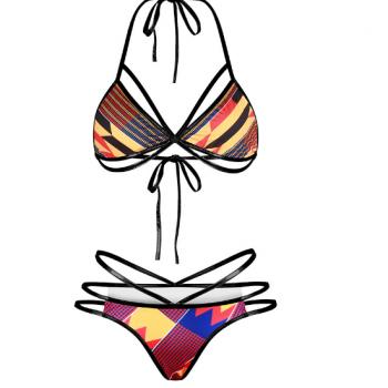 Red tribal string bikini