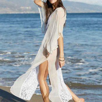 Long sheer and lace kaftan