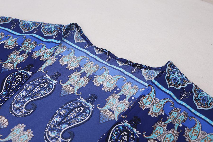 Navy blue paisley pattern kaftan