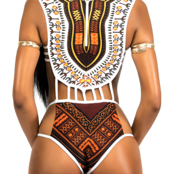 White, gold & brown tribal swimsuit