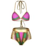 Pink & gold triangle tribal bikini