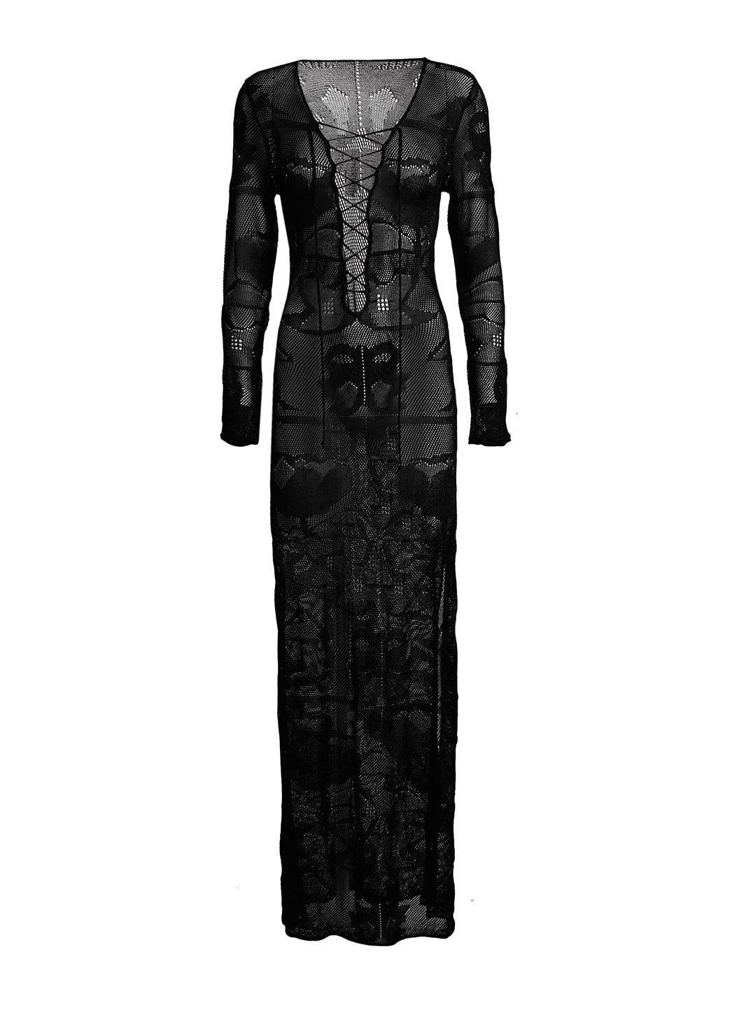 Long sleeves kaftan with side split