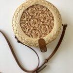 Rattan bag with leather shoulder strap