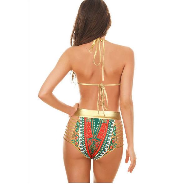 Red tribal triangle bikini