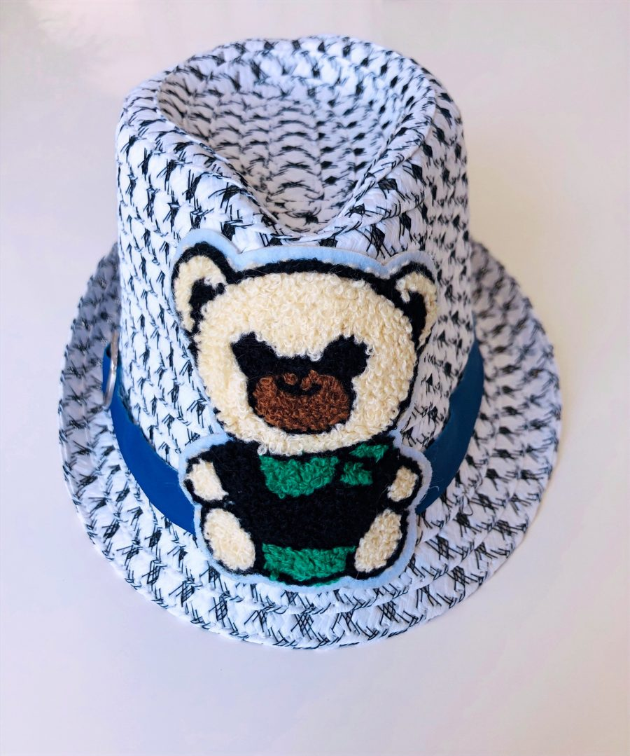 Black & white hat with green bear embroidery