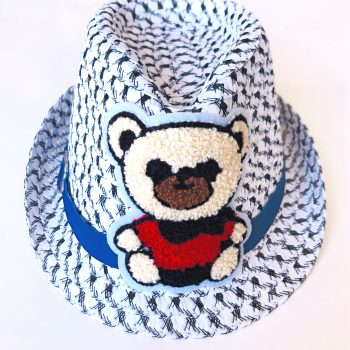 Black & white hat with red bear embroidery