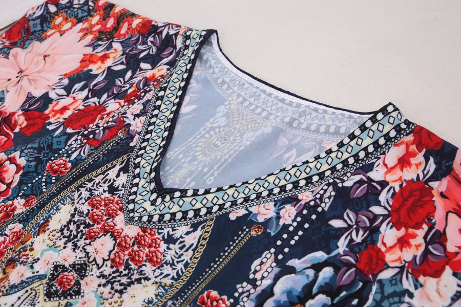 Floral print V-neck kaftan