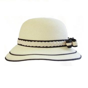 Elegant natural straw hat with bow