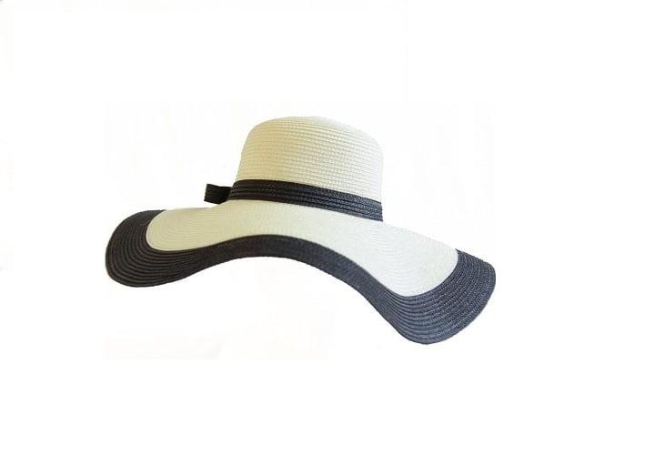 Elegant large brimmed natural straw hat